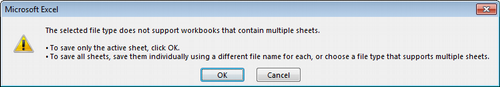 The selected file type does not support workbooks that contain multiple sheets